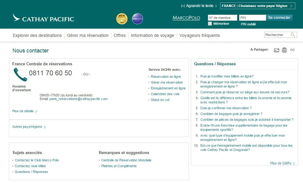 FAQ Cathay Pacific