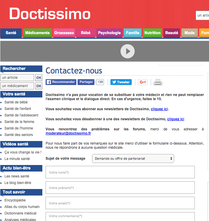 Formulaire Doctissimo