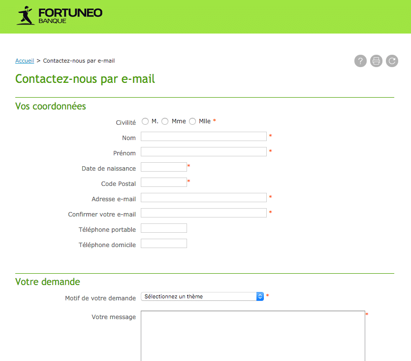Formulaire Fortuneo