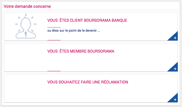 Page contact Boursorama Banque