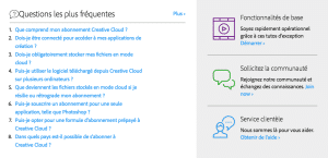 Support en ligne Adobe
