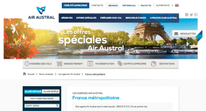 Capture d'écran du site officiel Air austral