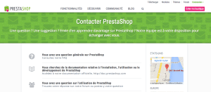Rubrique contact du site Prestashop.com