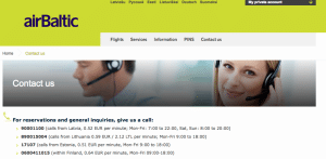 page de contact air baltic