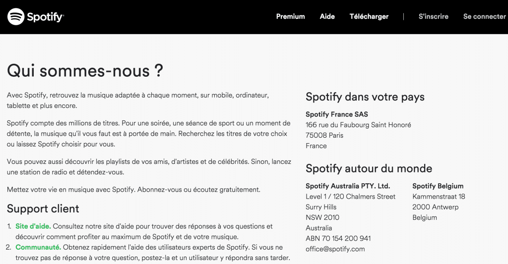 page de contact spotify