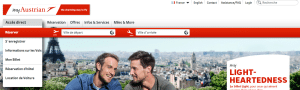 Aperçu du site officiel Austrian Airlines