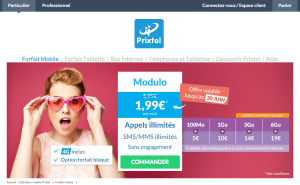 Interface du site Prixtel
