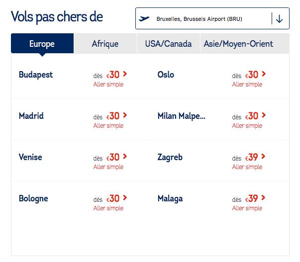 Capture d'écran site Brussels Airlines