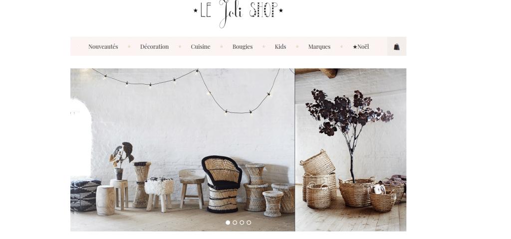 Page accueil site le joli shop