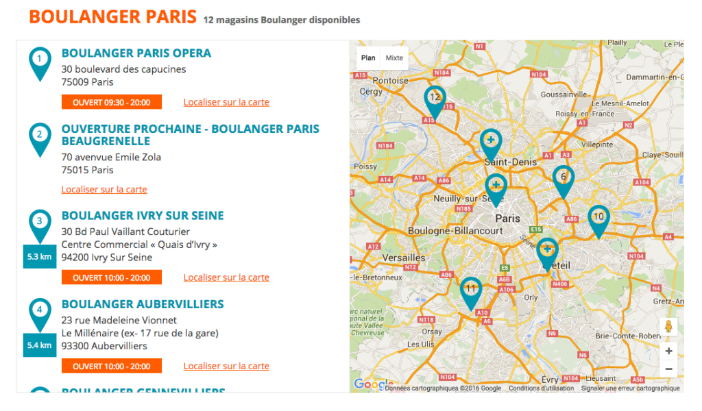 Carte magasins Boulanger