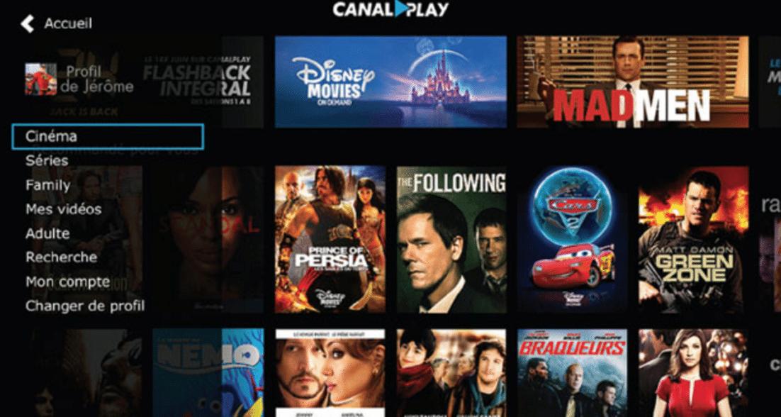 Ecran accueil Canal Play