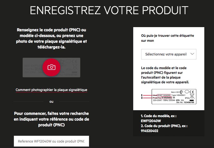 Enregistrer votre produit AEG
