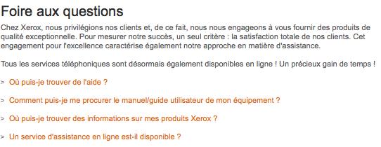 FAQ Xerox