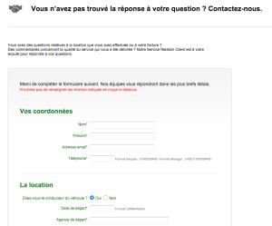 Formulaire Europcar