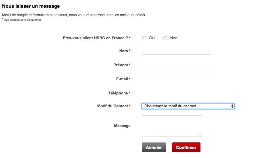 Formulaire HSBC