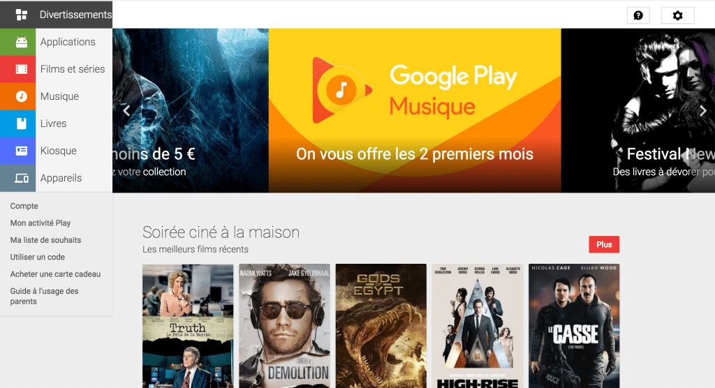 Page accueil Google Play