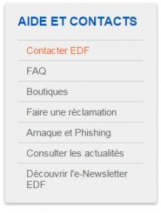 Services du SAV EDF Bleu Ciel