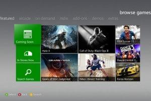 Exemple de l'interface Xbox Live
