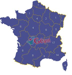 Nombre de magasins Géant en France