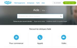 Rubrique Aide Skype