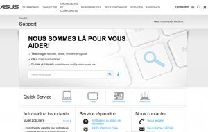 Capture d'écran de la page de contact officielle Asus