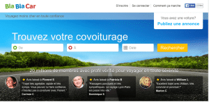 Interface du site Blablacar