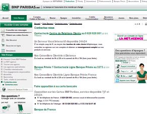 Aperçu de la page service client sur le site de BNP Paribas