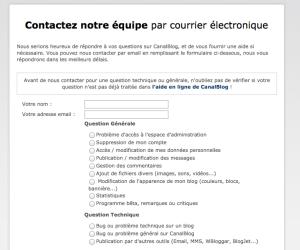 Extrait du formulaire de contact CanalBlog