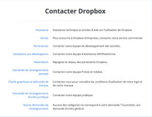 Page de contact de Dropbox