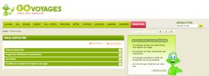 Page de contact du Service client Go voyages
