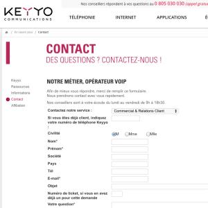 Formulaire de contact Keyyo mobeel