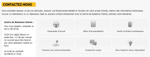 Page de contact www.opel.fr