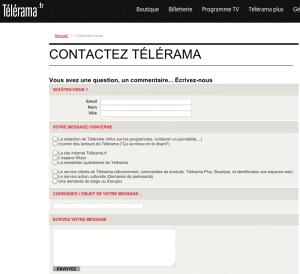 Page de contact Télérama