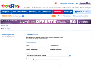 Page de contact du site officiel Toys r us