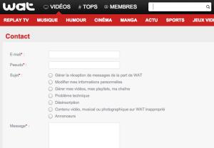 Formulaire de contact Wat.tv