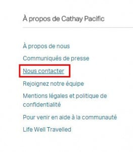 contacter Cathay Airlines