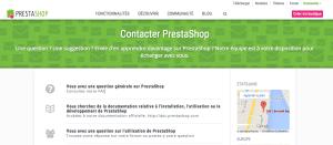 Rubrique contact du site Prestashop.com