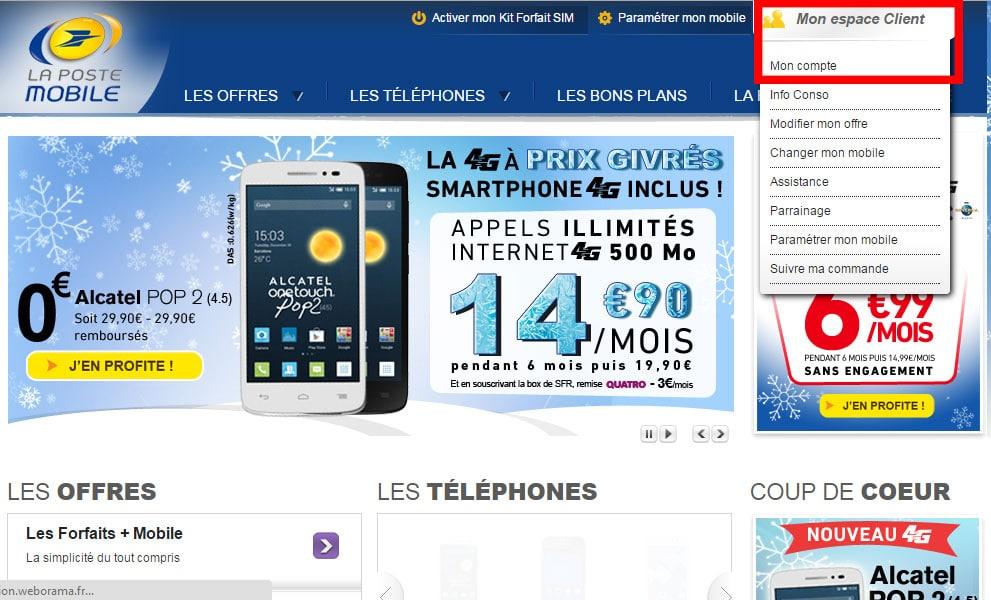Espace client de La Poste Mobile
