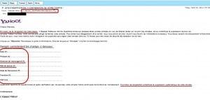 Exemple d'une arnaque - faux message Yahoo