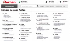 Liste des magasins Auchan disponible sur Internet