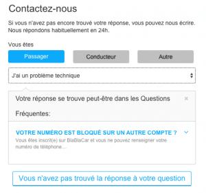 Formulaire de contact Covoiturage.fr