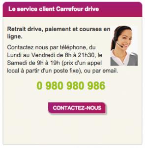 numero de telephone carrefour drive