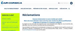 Capture d'écran de la page de contact du site Air Corsica