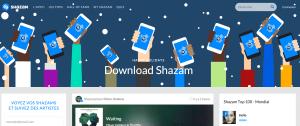 Page d'accueil du site officiel Shazam