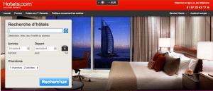 Aperçu du site Hotel.com