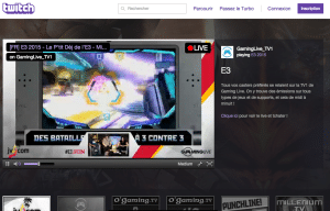 Interface du site officiel Twitch.tv