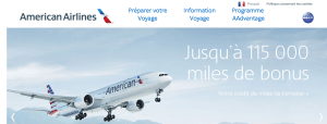 Capture d'écran du site officiel AmericanAirlines